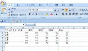 条件分岐のサンプル表